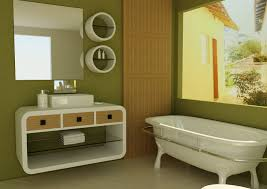 how to design minimalist bathroom ideas with green color