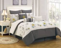 bedroom special gray embroidered bedding comforter set for full