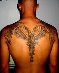 wonderful grey ink guardian on back tattooshunter com