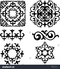 set kazakh asian ornaments patterns decoration stock vector