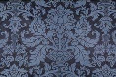 Blue Damask Upholstery Fabric 1 13 Yards Woven Damask Upholstery Fabric In Blue Fabric