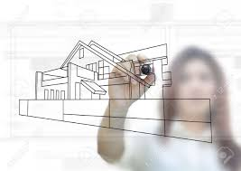 house planning project idea on white background stock photo