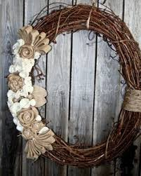 grapevine wreath with monogrammed burlap for the home