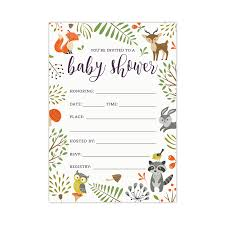 woodland baby shower invitations woodland forest animals baby shower invitations koko paper co