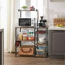 kitchen pantry storage cabinet microwave oven stand with storage vasagle ukks35x oven rack with shelves kitchen shelf with wire basket 6 s hooks microwave oven holder storage for spices pots and pans rustic