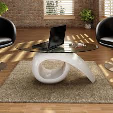 glass top coffee table high gloss white high quality exclusive