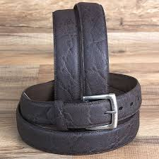 brown leather elephant print mens cowboy dress belt