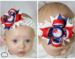fourth of july hair bows blue white hair bow etsy
