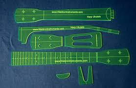 ukulele style neck template with fret board layout