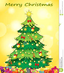 a christmas card template with a green christmas tree royalty free