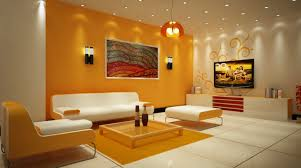 foxy living room with modern orange color scheme and minimalist
