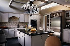 chandelier over kitchen island gallery also white classic stained