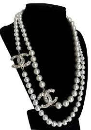 brand new pearl necklace images Chanel price dropped new pearl crystal cc long gold necklace tradesy jpg