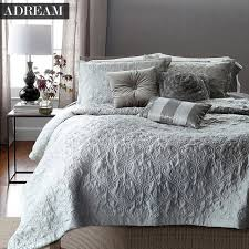 adream faux silk cotton bedspread coverlet quilt grey quilted