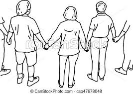 eps vector of people holding hands vector illustration sketch