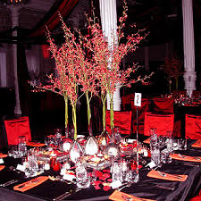 the tables were covered with red and black silk shantung