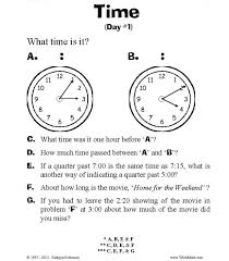 teaching time worksheets 3rd 4th 5th grade centers
