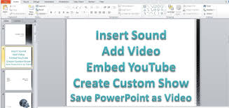 microsoft powerpoint 2010 pt 3 insert sound video youtube