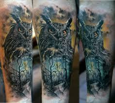 wildlife owl tattoo design by domantas parvanis