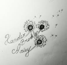 black ink three dandelion tattoo design