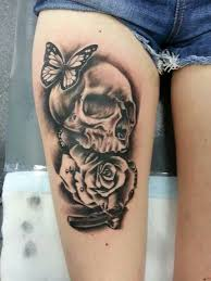 spiders and skulls tattoos thigh quote design idea for