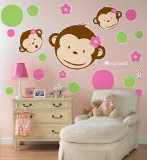 pink mod monkey giant wall decals birthdayexpress com