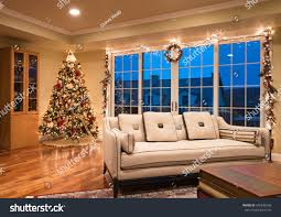 ornate christmas tree corner modern home stock photo 540836296