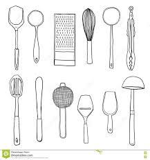 kitchen utensils hand drawn line art illustration stock utensils implements