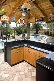 kitchen stunning outdoor kitchen ideas with cozy wooden interior kitchen attractive outdoor kitchen ideas with ceiling fans and black granite countertops using wooden cabinet