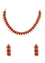 red necklace online images Buy red ruby stone indian necklace set online jpg