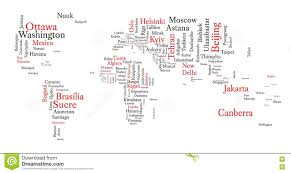 World Cloud Map by Word Cloud In A Shape Of Map Contains All World Capitals Stock