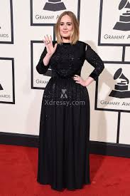 adele plus size sequin black long sleeve prom dress grammys 2016