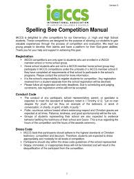 iaccs spelling bee competition manual v 3 spelling dictionary