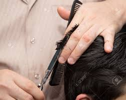 men u0027s haircut scissors at salon stock photo picture and royalty