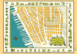 New York City Street Map by Greenwich Village New York 1950s Map Poster Vintage Washington