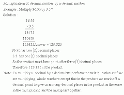 multiplication in decimals multiply by decimal number grade