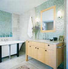 solid wood vanity for small bathroom design with glass wall tile