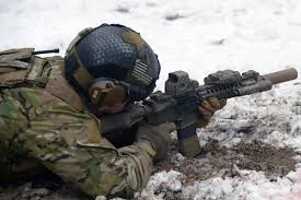 us special forces soldier training on a m4a1 carbine at panzer