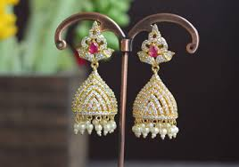 kerala style jhumka earrings studded jhumka style earring in pink and white kerala