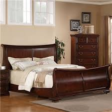 Cherry Sleigh Bed Lifestyle 1130 Bedroom Queen Transitional Cherry Sleigh Bed