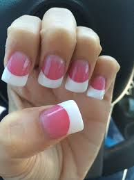 pink and white powder with a small flare acrylic beautiful yelp