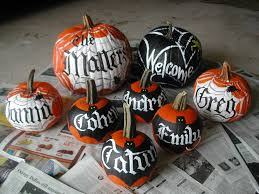 painted halloween pumpkins lettering art studio