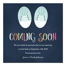 baby shoes pregnancy announcement in navy ladyprints