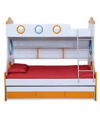 Buy Bunk Bed Online India Royaloak Remo Bunk Bed With White U0026 Orange Finish Buy Royaloak