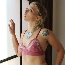 Where To Buy Wedding Lingerie Organic Cotton Bralette With Lace Trim Sorbet Hand Dyed Lingerie