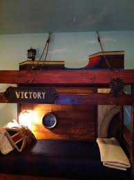 Pirate Ship Bed Frame Bunk Bed Made Pirate Ship Painted Canvas Background On The Upper