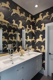 beautiful reasons wallpaper your bathroom hgtv zeal zebras modern black and white bathroom