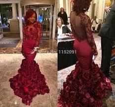 wholesale long sleeve burgundy prom dresses 2016 mermaid designer