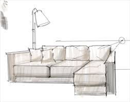Interior Design Rendering Working On A Sofa Design With A Lamp - Design a sofa