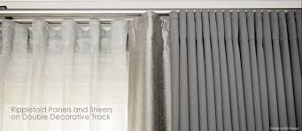 Kravet Double Suqare Traversing Rod by Sheer Solid Panels Ripple Fold On Track System Client Bc2